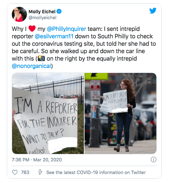 This is a screen grab of a tweet by @mollyeichel, Team Now editor @PhillyInquirer, praising one of her reporters for hitting the streets with a huge handwritten sign asking for people's contributions