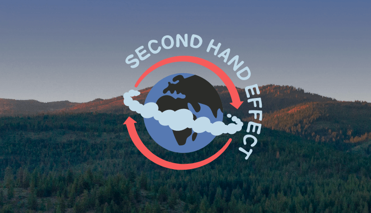 Logo of the Second Hand Effect marketplaces work on an image of a forest with hills and the sky in the background