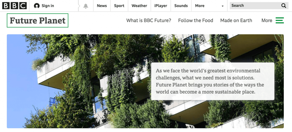 A screenshot of the BBC Future Planet website front page, including a story about Lagos in Nigeria, which is often flooded